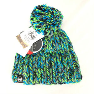 Buff Skyler Beanie Hat Handmade Knit Pom Unisex